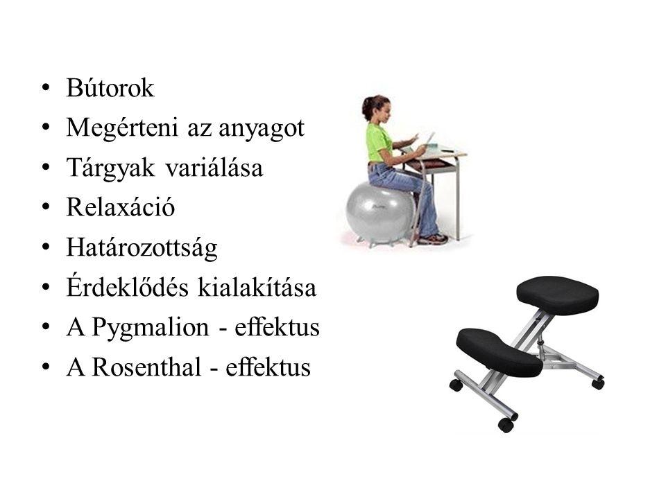 • Bútorok • Megérteni az anyagot • Tárgyak variálása • Relaxáció • Határozottság • Érdeklődés kialakítása • A Pygmalion - effektus • A Rosenthal - effektus