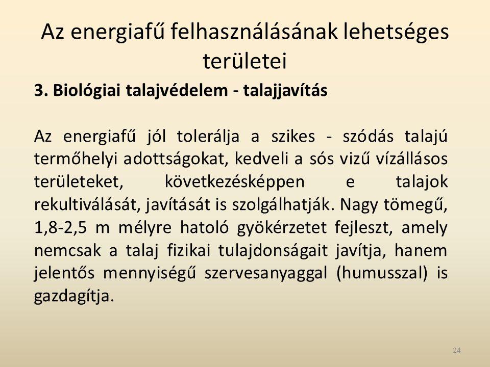 Az energiafű felhasználásának lehetséges területei 3. Biológiai talajvédelem - talajjavítás Az energiafű jól tolerálja a szikes - szódás talajú termőh