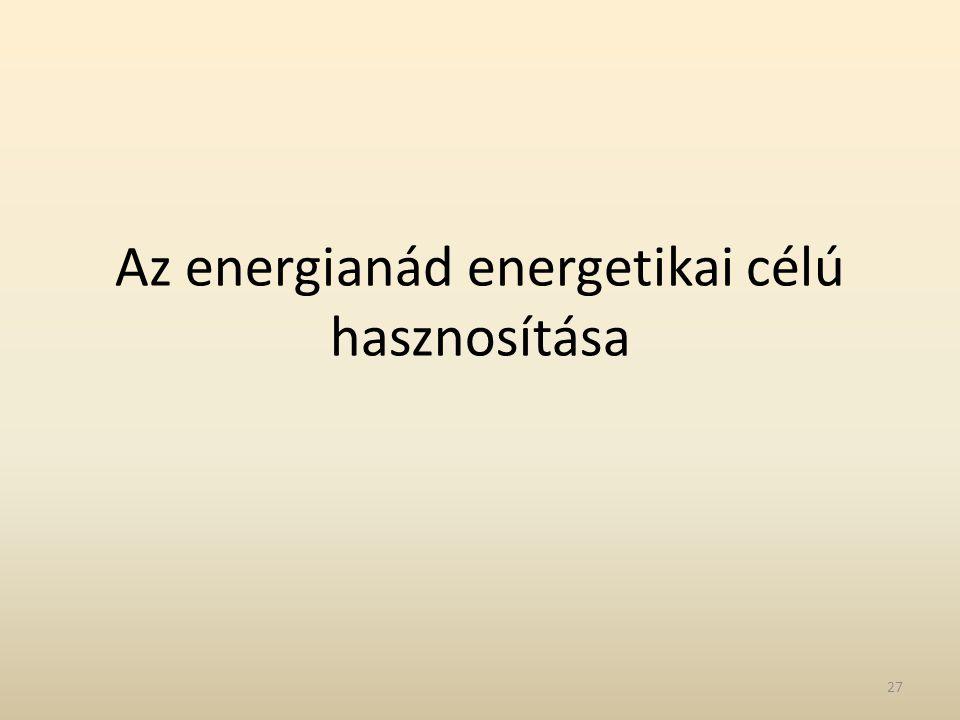 Az energianád energetikai célú hasznosítása 27