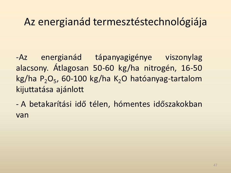 Az energianád termesztéstechnológiája -Az energianád tápanyagigénye viszonylag alacsony. Átlagosan 50-60 kg/ha nitrogén, 16-50 kg/ha P 2 O 5, 60-100 k