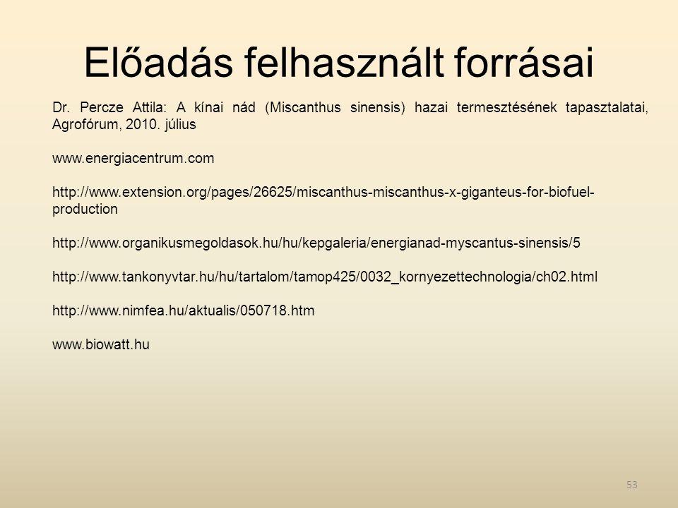 Előadás felhasznált forrásai Dr. Percze Attila: A kínai nád (Miscanthus sinensis) hazai termesztésének tapasztalatai, Agrofórum, 2010. július www.ener