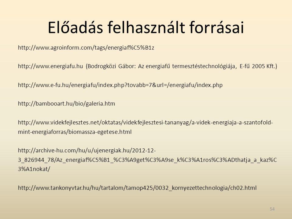 Előadás felhasznált forrásai http://www.agroinform.com/tags/energiaf%C5%B1z http://www.energiafu.hu (Bodrogközi Gábor: Az energiafű termesztéstechnoló