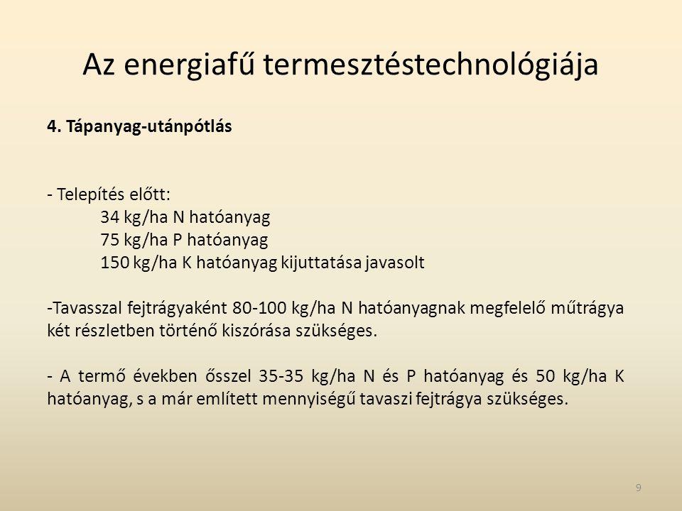 Az energiafű termesztéstechnológiája 4. Tápanyag-utánpótlás - Telepítés előtt: 34 kg/ha N hatóanyag 75 kg/ha P hatóanyag 150 kg/ha K hatóanyag kijutta
