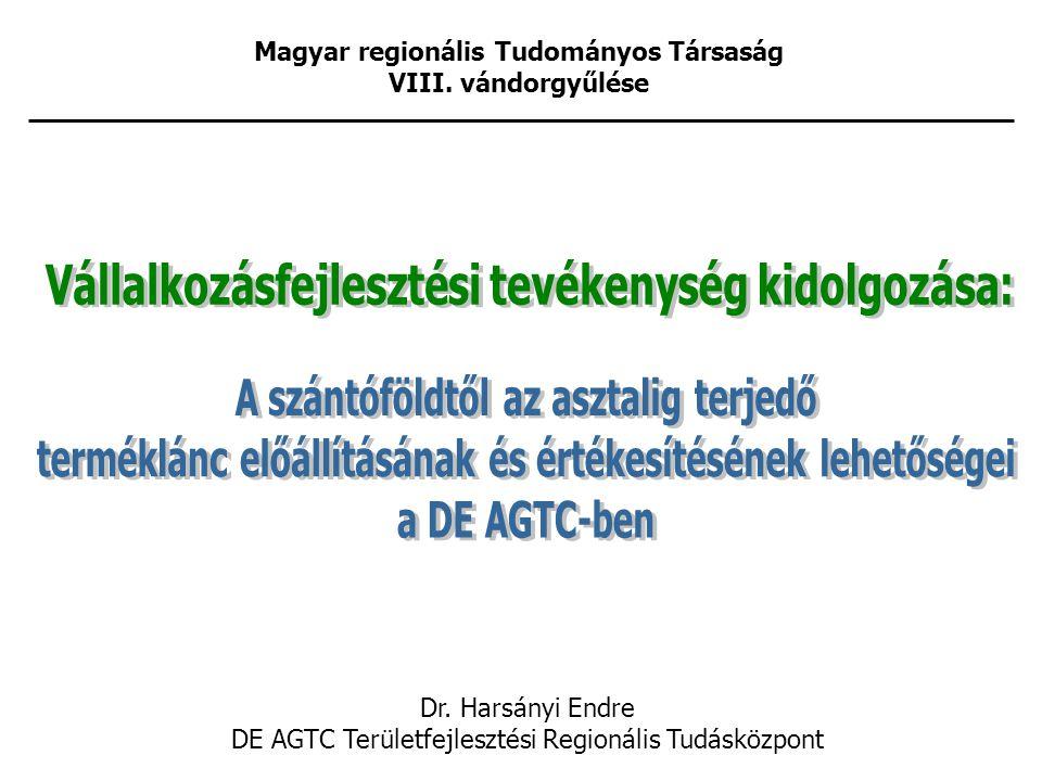 Magyar regionális Tudományos Társaság VIII. vándorgyűlése Dr.