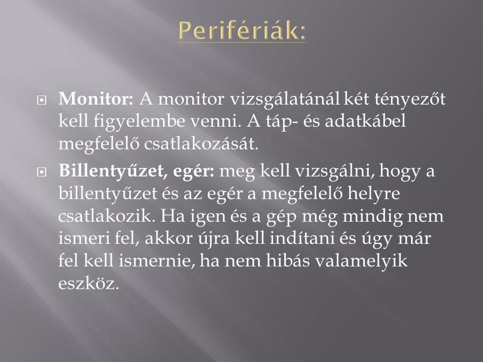 Monitor: A monitor vizsgálatánál két tényezőt kell figyelembe venni.
