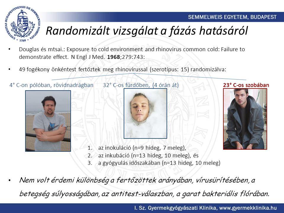 Randomizált vizsgálat a fázás hatásáról • Douglas és mtsai.: Exposure to cold environment and rhinovirus common cold: Failure to demonstrate effect. N