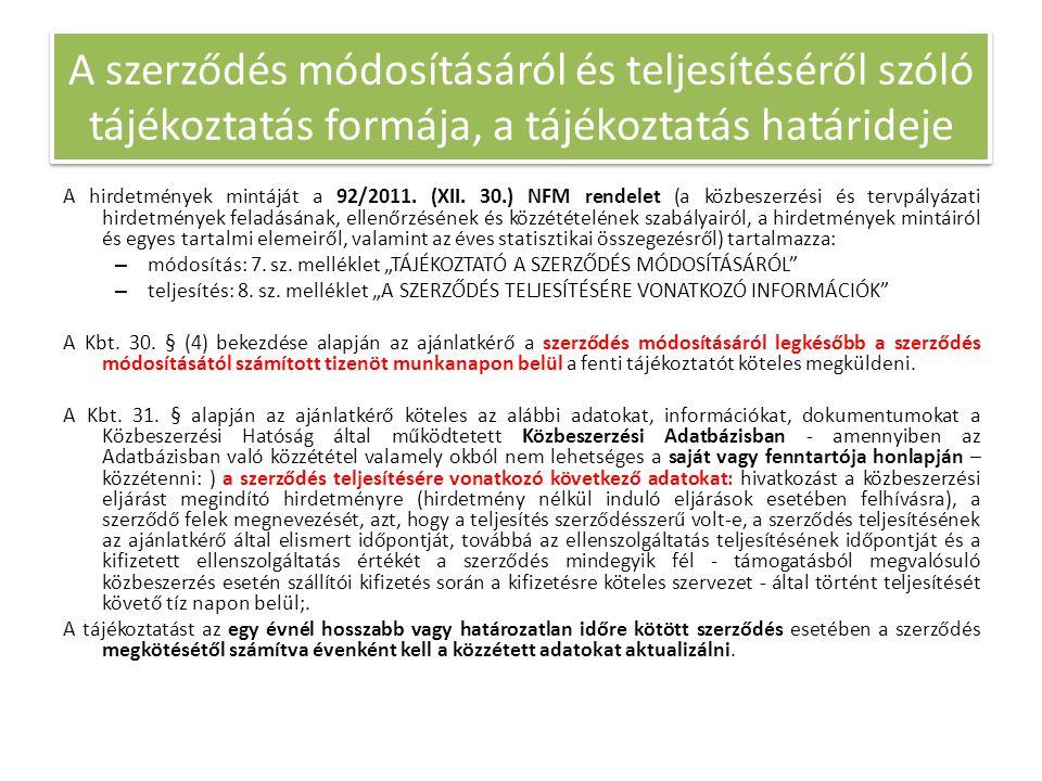 A hirdetmények mintáját a 92/2011. (XII. 30.) NFM rendelet (a közbeszerzési és tervpályázati hirdetmények feladásának, ellenőrzésének és közzétételéne