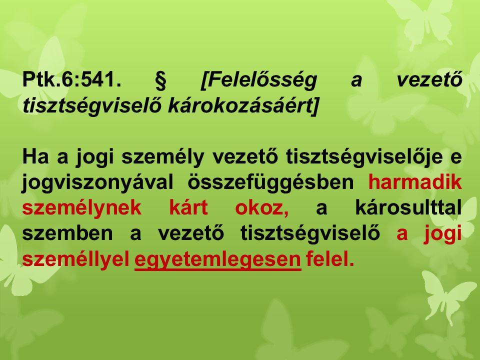 Ptk.6:541. § [Felelősség a vezető tisztségviselő károkozásáért] Ha a jogi személy vezető tisztségviselője e jogviszonyával összefüggésben harmadik sze