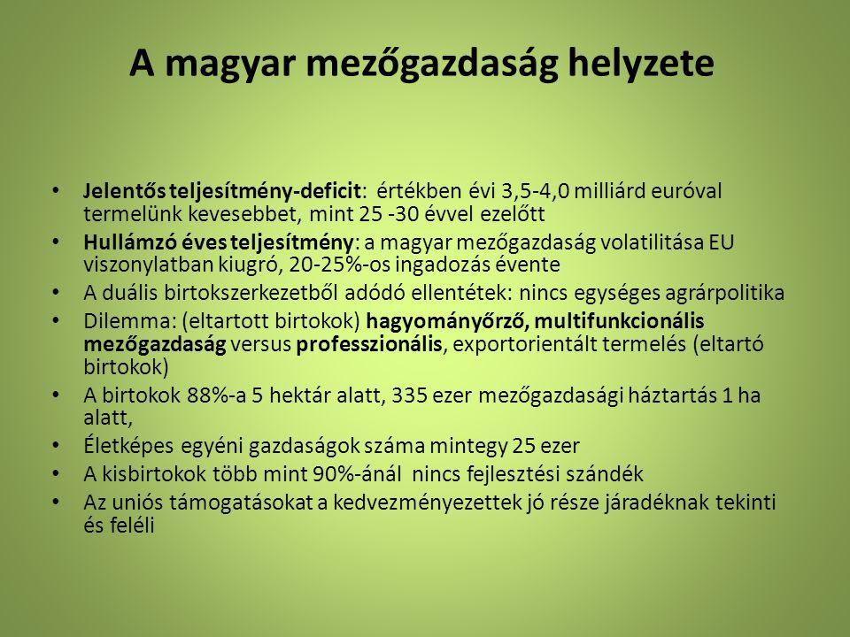 A magyar mezőgazdaság helyzete • Jelentős teljesítmény-deficit: értékben évi 3,5-4,0 milliárd euróval termelünk kevesebbet, mint 25 -30 évvel ezelőtt