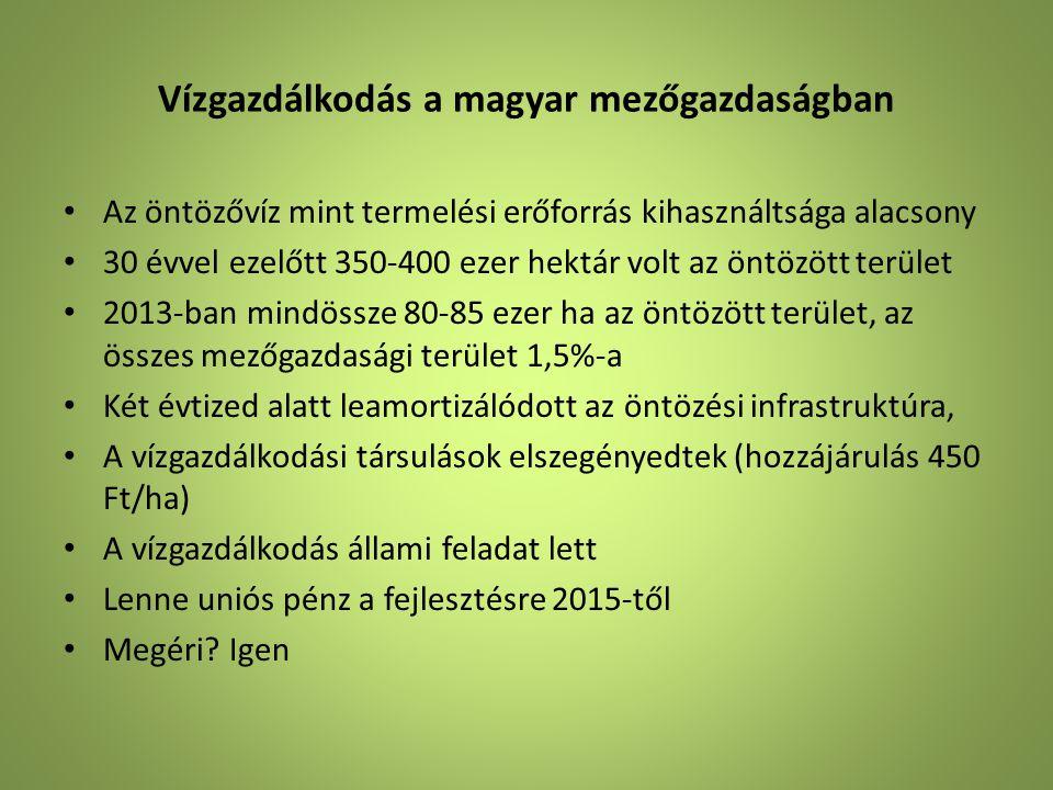 Vízgazdálkodás a magyar mezőgazdaságban • Az öntözővíz mint termelési erőforrás kihasználtsága alacsony • 30 évvel ezelőtt 350-400 ezer hektár volt az