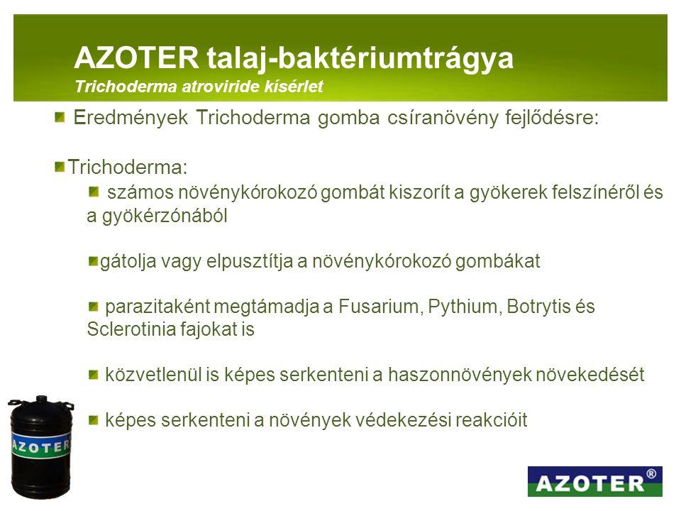 PANNON-RADE KFT.AZOTER talaj-baktériumtrágya Trichoderma atroviride kísérlet Eredmények Trichoderma gomba csíranövény fejlődésre: Trichoderma: számos