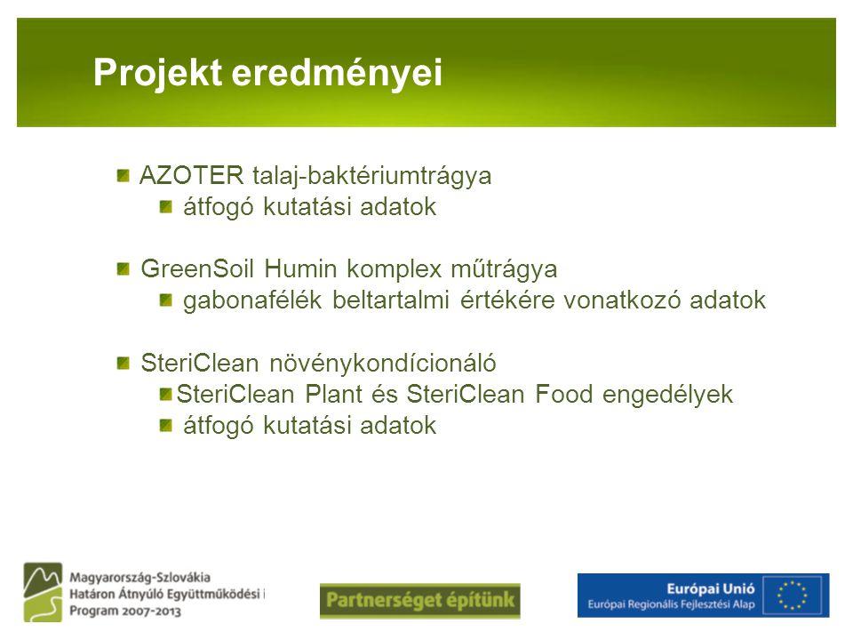PANNON-RADE KFT.Projekt eredményei AZOTER talaj-baktériumtrágya átfogó kutatási adatok GreenSoil Humin komplex műtrágya gabonafélék beltartalmi értéké