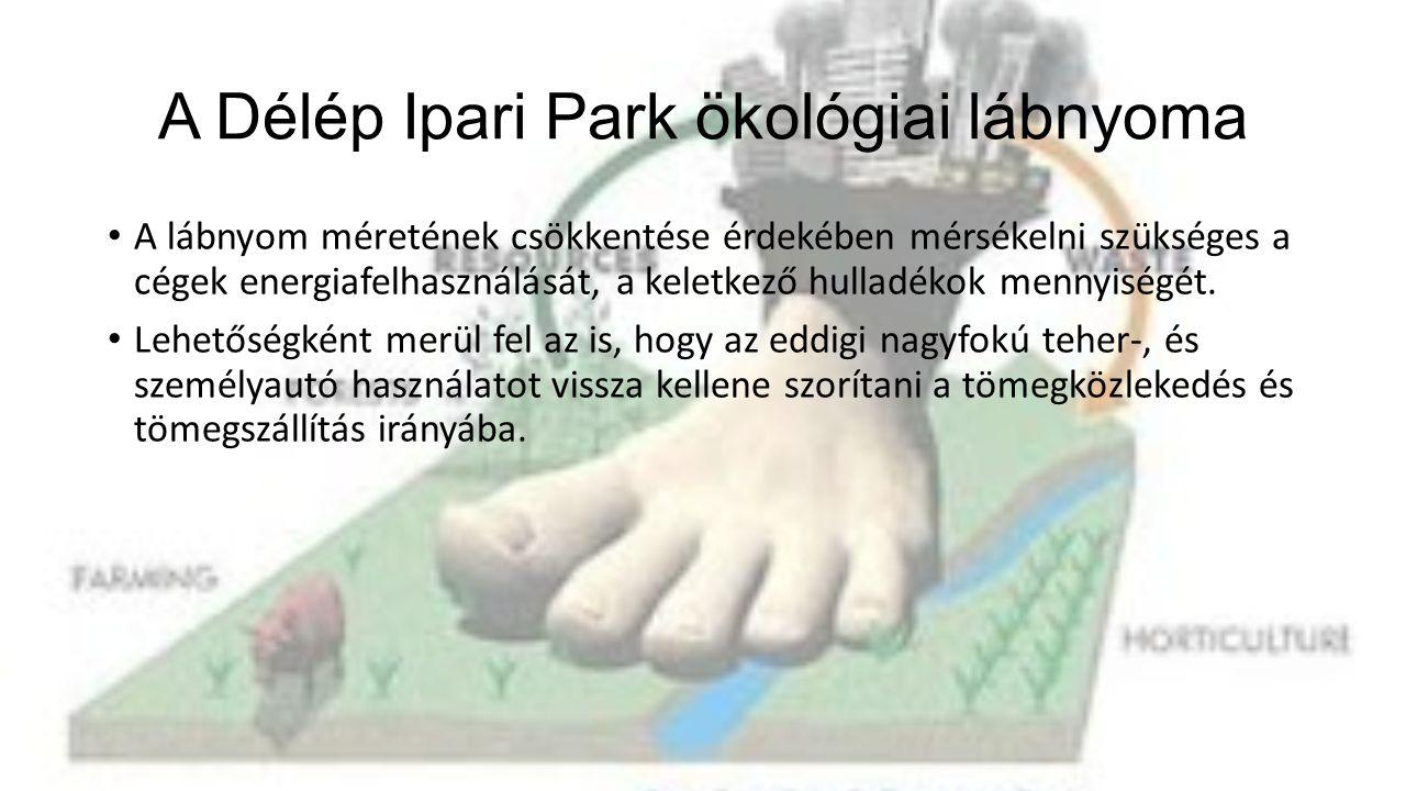 A Délép Ipari Park ökológiai lábnyoma • A lábnyom méretének csökkentése érdekében mérsékelni szükséges a cégek energiafelhasználását, a keletkező hulladékok mennyiségét.