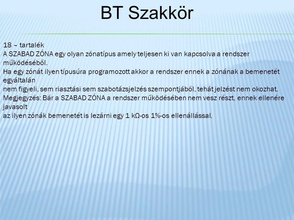BT Szakkör 18 – tartalék A SZABAD ZÓNA egy olyan zónatípus amely teljesen ki van kapcsolva a rendszer működéséből.