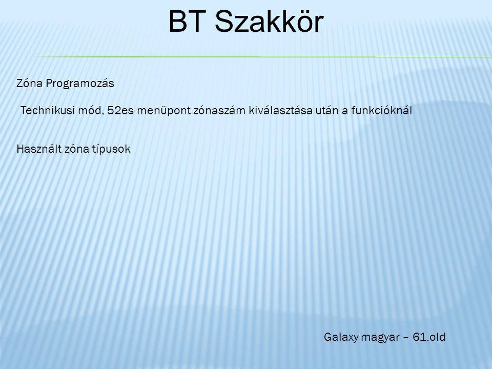 BT Szakkör Zóna Programozás Technikusi mód, 52es menüpont zónaszám kiválasztása után a funkcióknál Használt zóna típusok Galaxy magyar – 61.old