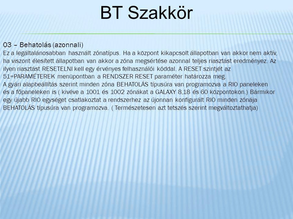 BT Szakkör 03 – Behatolás (azonnali) Ez a legáltalánosabban használt zónatípus.