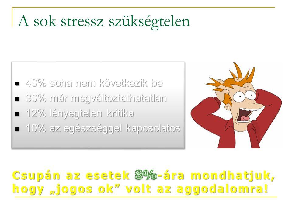 A sok stressz szükségtelen  40% soha nem következik be  30% már megváltoztathatatlan  12% lényegtelen kritika  10% az egészséggel kapcsolatos  40% soha nem következik be  30% már megváltoztathatatlan  12% lényegtelen kritika  10% az egészséggel kapcsolatos