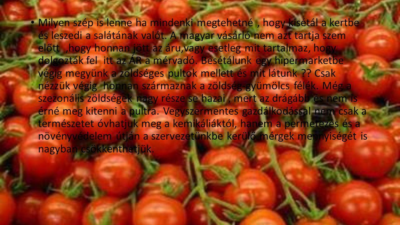 • Milyen szép is lenne ha mindenki megtehetné, hogy kisétál a kertbe és leszedi a salátának valót. A magyar vásárló nem azt tartja szem előtt,hogy hon