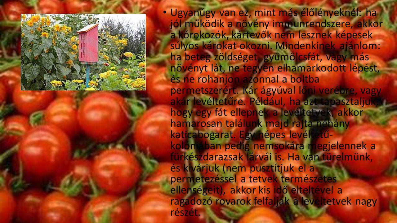 • Ugyanúgy van ez, mint más élőlényeknél: ha jól működik a növény immunrendszere, akkor a kórokozók, kártevők nem lesznek képesek súlyos károkat okozn