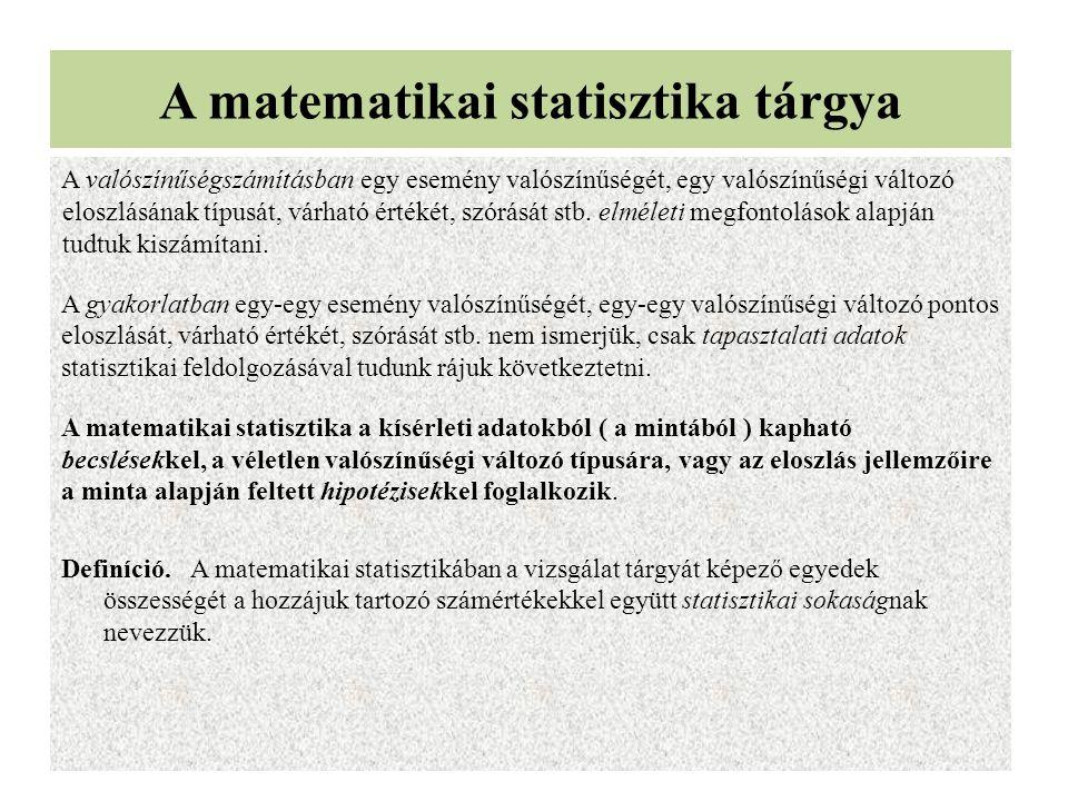 A matematikai statisztika tárgya A valószínűségszámításban egy esemény valószínűségét, egy valószínűségi változó eloszlásának típusát, várható értékét