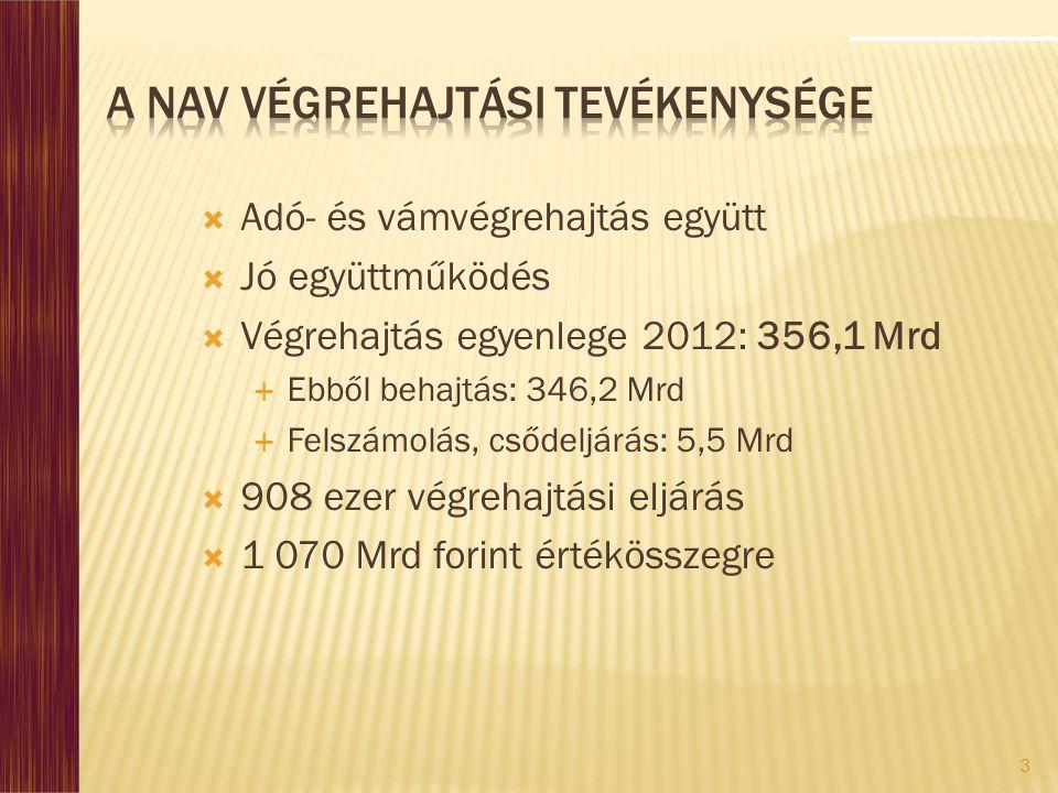 3  Adó- és vámvégrehajtás együtt  Jó együttműködés  Végrehajtás egyenlege 2012: 356,1 Mrd  Ebből behajtás: 346,2 Mrd  Felszámolás, csődeljárás: 5