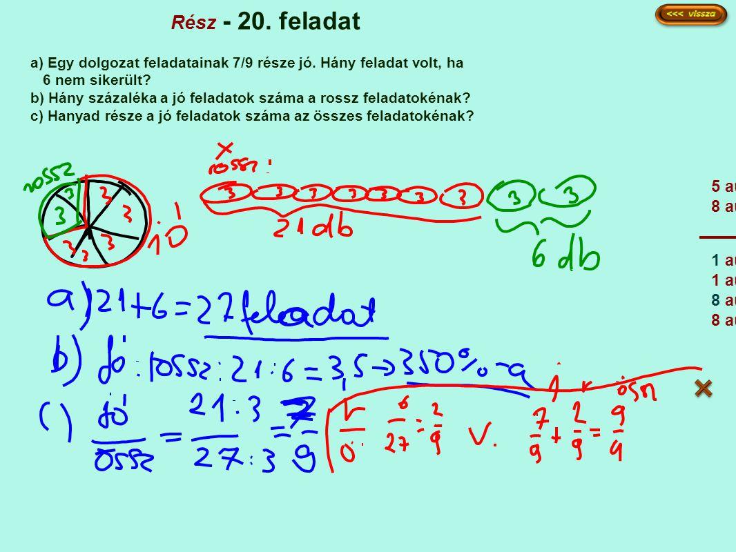 Rész - 20. feladat a) Egy dolgozat feladatainak 7/9 része jó. Hány feladat volt, ha 6 nem sikerült? b) Hány százaléka a jó feladatok száma a rossz fel