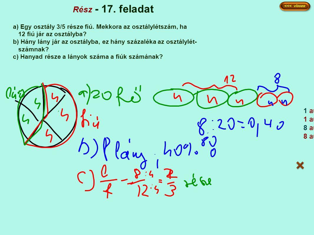 Rész - 17.feladat a) Egy osztály 3/5 része fiú.