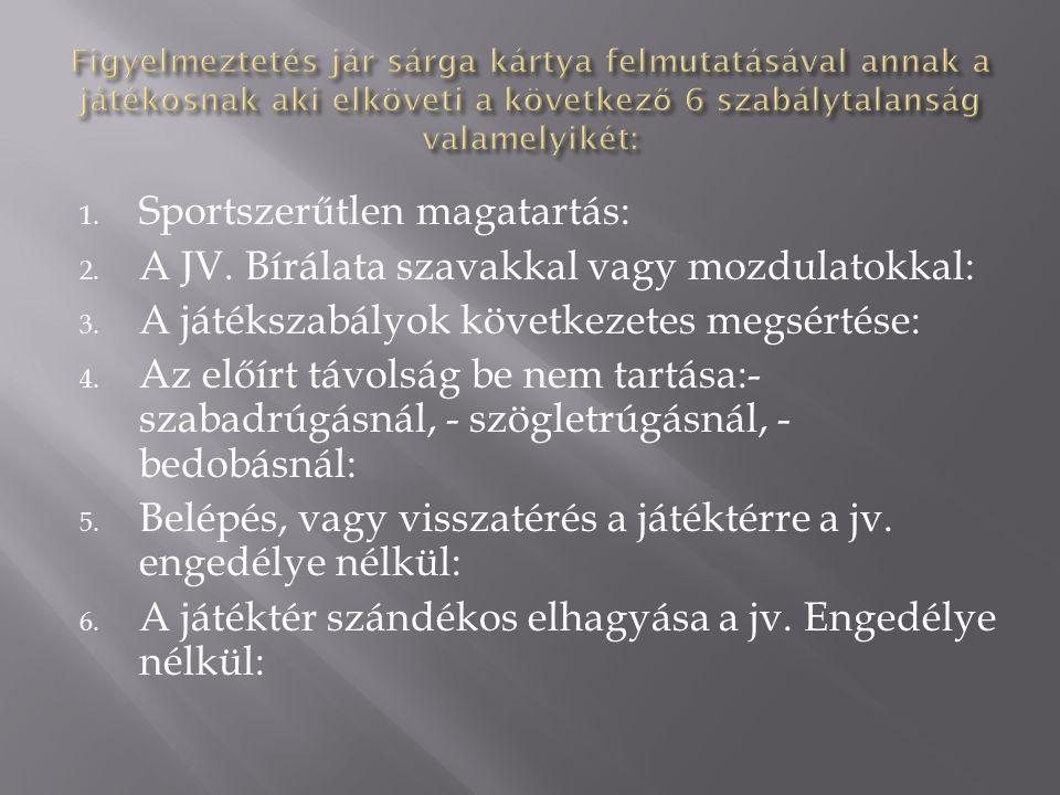 1.Súlyos sportszerűtlenség: 2. Durva játék: 3. Ellenfél vagy bármely más személy leköpése: 4.
