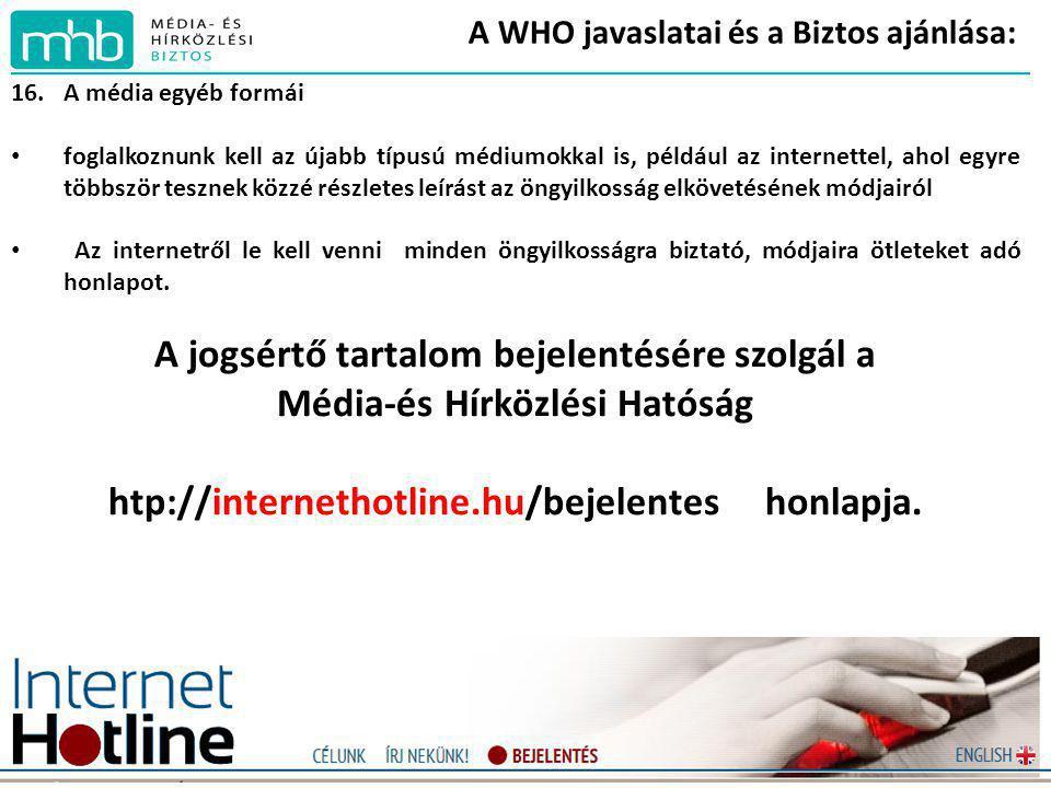 A WHO javaslatai és a Biztos ajánlása: 16.A média egyéb formái • foglalkoznunk kell az újabb típusú médiumokkal is, például az internettel, ahol egyre