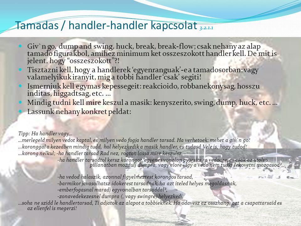 Tamadas / handler-handler kapcsolat 3.2.1.1  Giv`n go, dump and swing, huck, break, break-flow; csak nehany az alap tamado figurakbol, amihez minimum