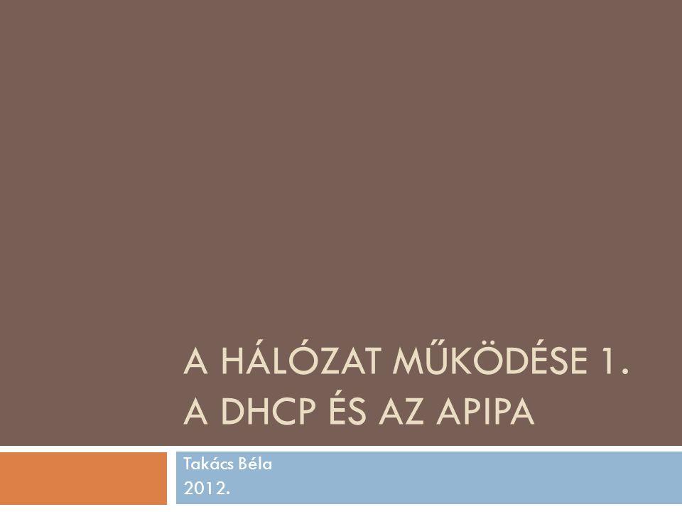 A HÁLÓZAT MŰKÖDÉSE 1. A DHCP ÉS AZ APIPA Takács Béla 2012.