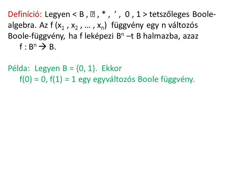Definíció: Legyen tetszőleges Boole- algebra. Az f (x 1, x 2, …, x n ) függvény egy n változós Boole-függvény, ha f leképezi B n –t B halmazba, azaz f