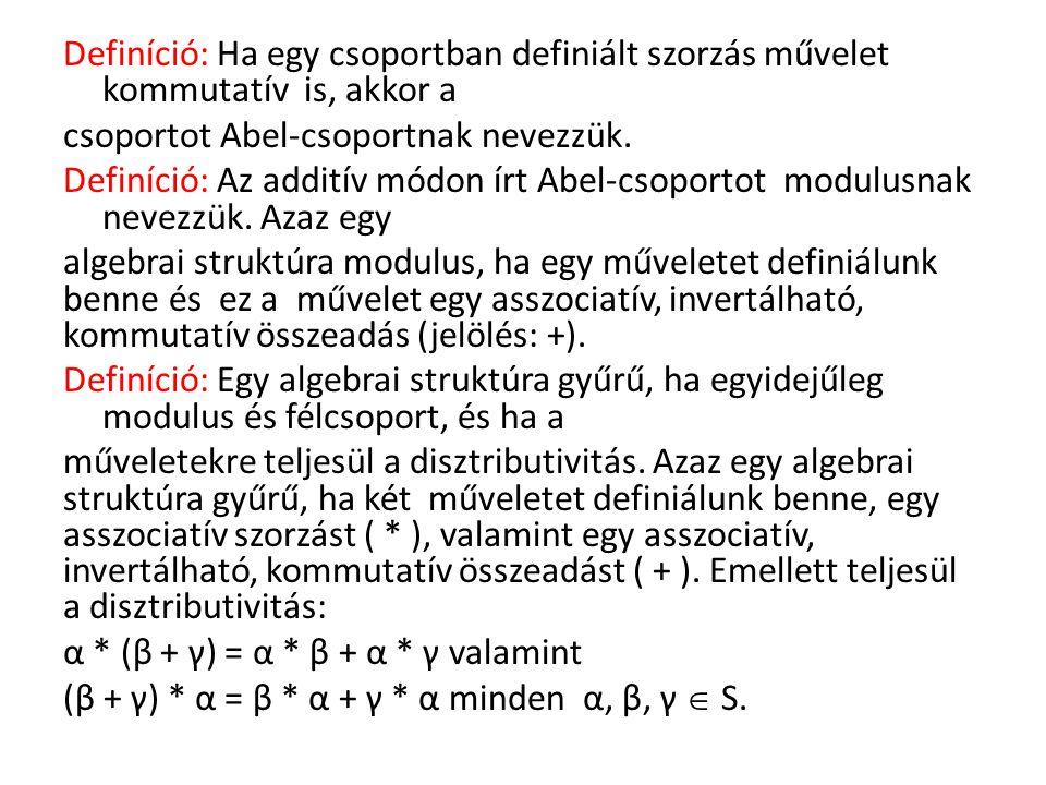 Definíció: Az a, b, c elemek egy B halmazát Boole- algebrának nevezzük, ha értelmezve van benne három művelet: , *, ' az alábbi tulajdonságokkal: a  b = b  a, a * b = b * a, a  (b  c) = (a  b)  c, a * (b * c) = (a * b) * c, a * (b  c) = (a * b)  (a * c), a  (b * c ) = (a  b) * (a  c), a  a = a, a * a = a.