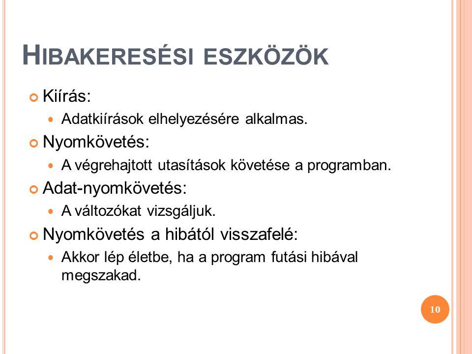 H IBAKERESÉSI ESZKÖZÖK Kiírás:  Adatkiírások elhelyezésére alkalmas. Nyomkövetés:  A végrehajtott utasítások követése a programban. Adat-nyomkövetés