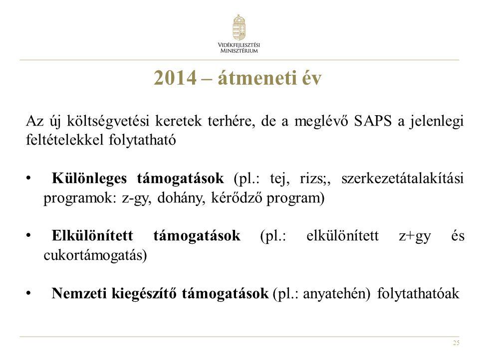 25 2014 – átmeneti év Az új költségvetési keretek terhére, de a meglévő SAPS a jelenlegi feltételekkel folytatható • Különleges támogatások (pl.: tej, rizs;, szerkezetátalakítási programok: z-gy, dohány, kérődző program) • Elkülönített támogatások (pl.: elkülönített z+gy és cukortámogatás) • Nemzeti kiegészítő támogatások (pl.: anyatehén) folytathatóak