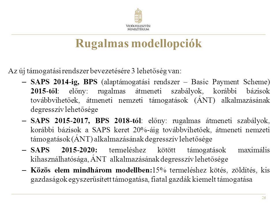 26 Rugalmas modellopciók Az új támogatási rendszer bevezetésére 3 lehetőség van: – SAPS 2014-ig, BPS (alaptámogatási rendszer – Basic Payment Scheme) 2015-től: előny: rugalmas átmeneti szabályok, korábbi bázisok továbbvihetőek, átmeneti nemzeti támogatások (ÁNT) alkalmazásának degresszív lehetősége – SAPS 2015-2017, BPS 2018-tól: előny: rugalmas átmeneti szabályok, korábbi bázisok a SAPS keret 20%-áig továbbvihetőek, átmeneti nemzeti támogatások (ÁNT) alkalmazásának degresszív lehetősége – SAPS 2015-2020: termeléshez kötött támogatások maximális kihasználhatósága, ÁNT alkalmazásának degresszív lehetősége – Közös elem mindhárom modellben:15% termeléshez kötés, zöldítés, kis gazdaságok egyszerűsített támogatása, fiatal gazdák kiemelt támogatása