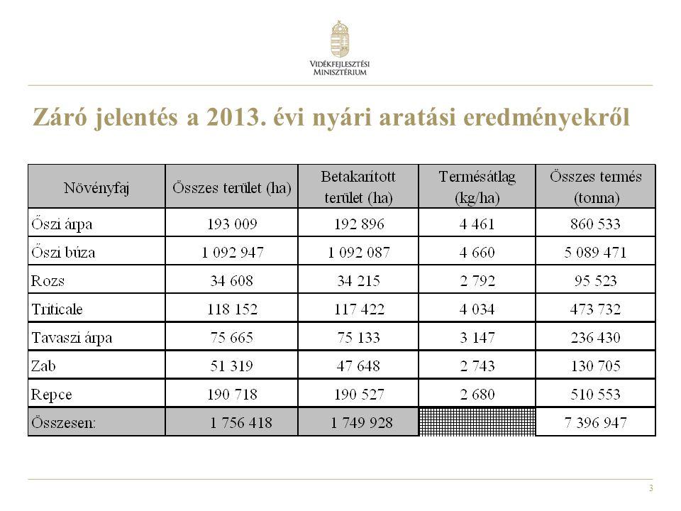 3 Záró jelentés a 2013. évi nyári aratási eredményekről