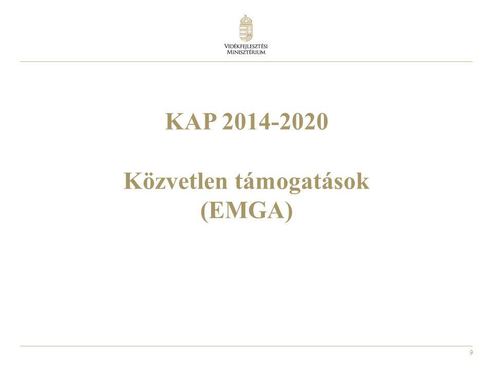 10 KAP új célkitűzései (2014-2020) 1.Életképes élelmiszertermelés: a mezőgazdasági jövedelmek és a szektor versenyképességének javítása 2.Természeti erőforrásokkal való fenntartható gazdálkodás: a mezőgazdaság által előállított közjavak ellentételezése és ösztönözése 3.Kiegyensúlyozott területi fejlődés: a vidéki közösségek és vidéki munkahelyek fenntartása