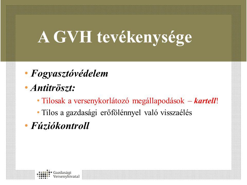 A GVH tevékenysége • Fogyasztóvédelem • Antitröszt: • Tilosak a versenykorlátozó megállapodások – kartell! • Tilos a gazdasági erőfölénnyel való vissz
