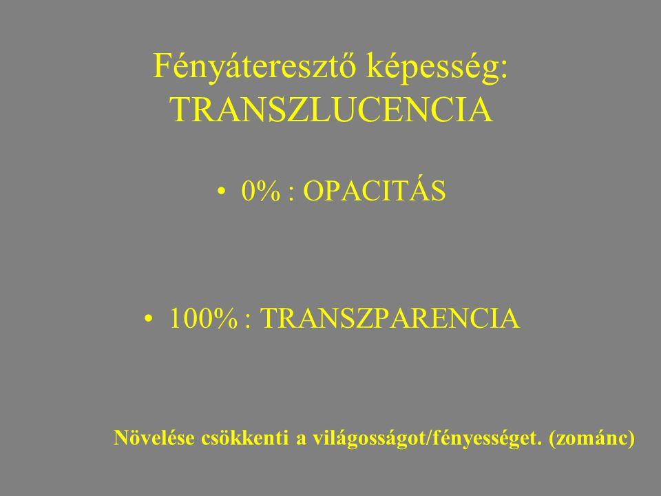 Fényáteresztő képesség: TRANSZLUCENCIA •0% : OPACITÁS •100% : TRANSZPARENCIA Növelése csökkenti a világosságot/fényességet. (zománc)
