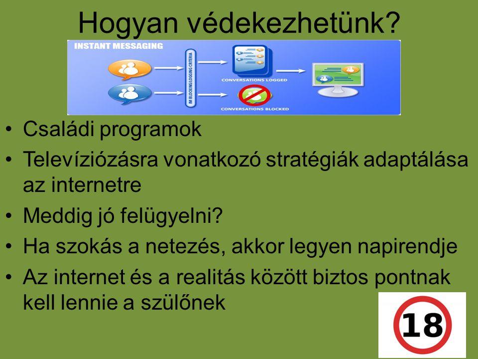 Hogyan védekezhetünk? •Családi programok •Televíziózásra vonatkozó stratégiák adaptálása az internetre •Meddig jó felügyelni? •Ha szokás a netezés, ak