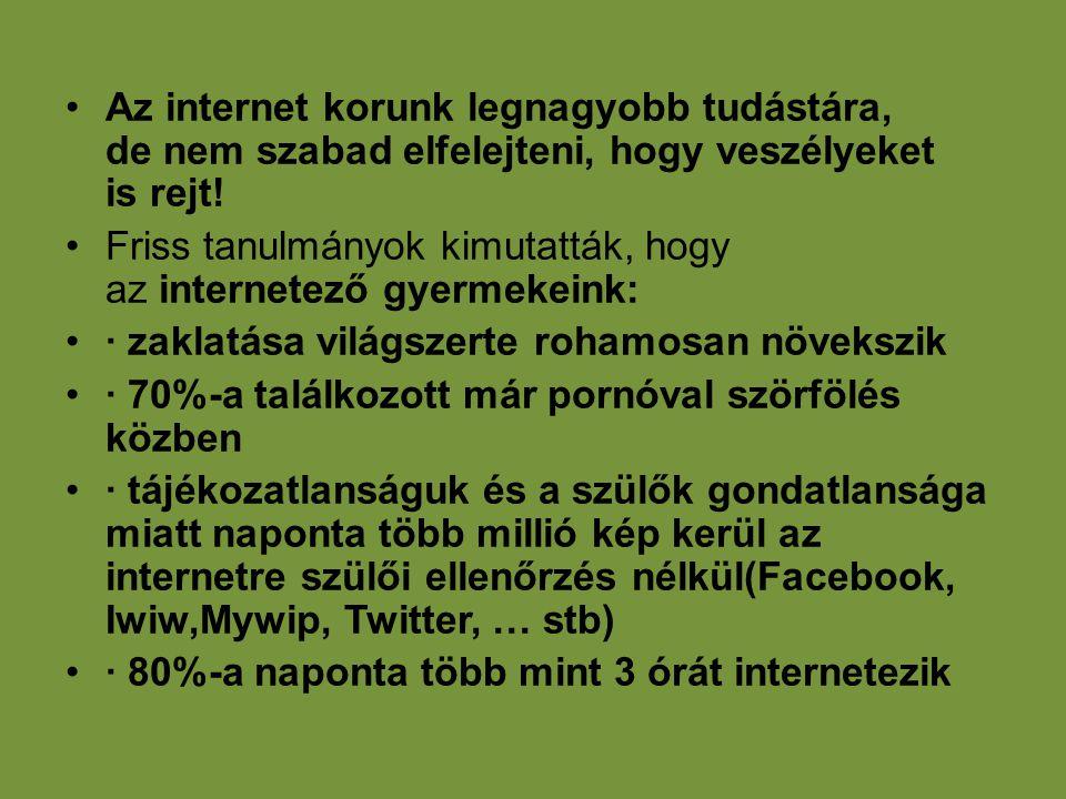 •Az internet korunk legnagyobb tudástára, de nem szabad elfelejteni, hogy veszélyeket is rejt! •Friss tanulmányok kimutatták, hogy az internetező gyer