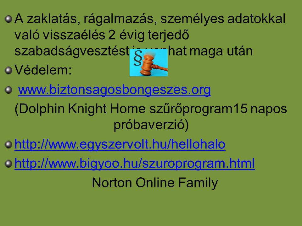 Dolphin Knight Home szoftver használata •Én egy szoftverrel védem meg gyermekeimet az internet káros hatásaitól.