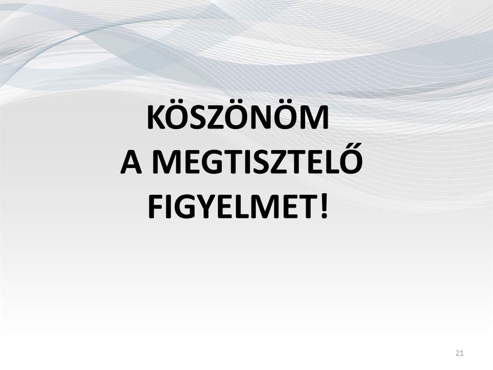 KÖSZÖNÖM A MEGTISZTELŐ FIGYELMET! 21