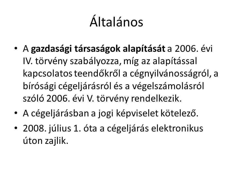 Általános • A gazdasági társaságok alapítását a 2006.