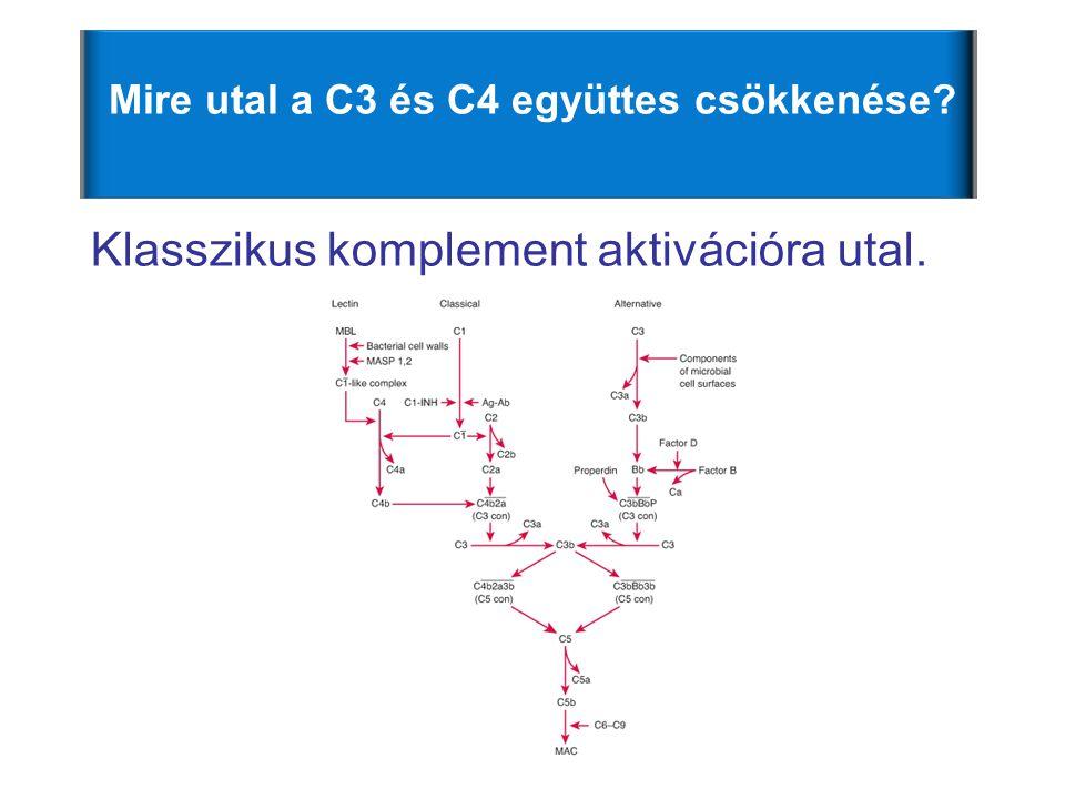 Mire utal a C3 és C4 együttes csökkenése? Klasszikus komplement aktivációra utal.