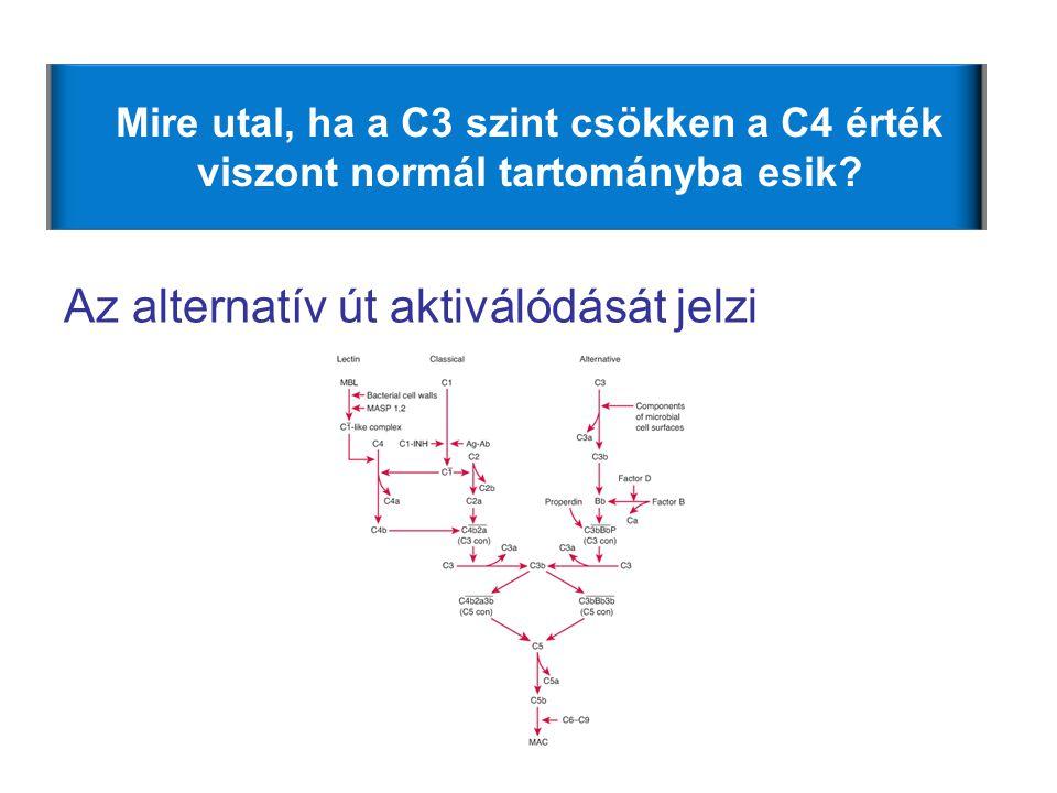 Mire utal, ha a C3 szint csökken a C4 érték viszont normál tartományba esik? Az alternatív út aktiválódását jelzi