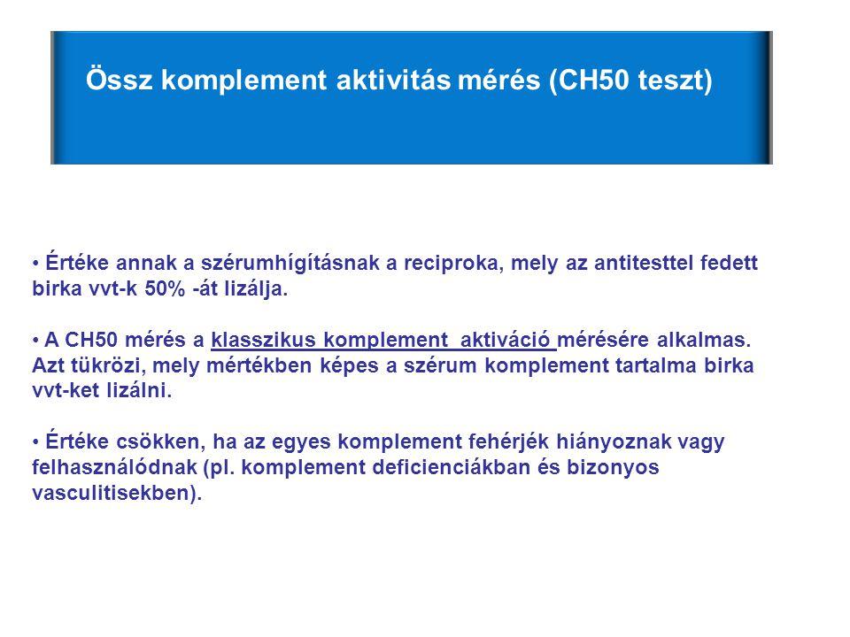 • Értéke annak a szérumhígításnak a reciproka, mely az antitesttel fedett birka vvt-k 50% -át lizálja. • A CH50 mérés a klasszikus komplement aktiváci