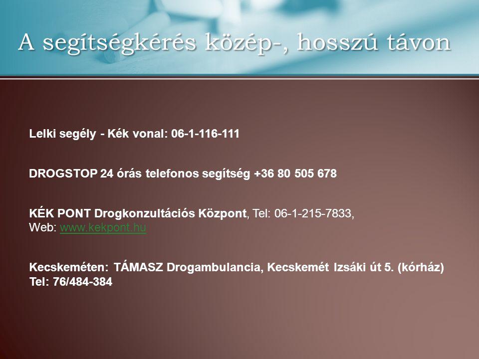 A segítségkérés közép-, hosszú távon Lelki segély - Kék vonal: 06-1-116-111 DROGSTOP 24 órás telefonos segítség +36 80 505 678, KÉK PONT Drogkonzultác