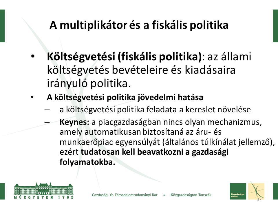 37 A multiplikátor és a fiskális politika • Költségvetési (fiskális politika): az állami költségvetés bevételeire és kiadásaira irányuló politika.